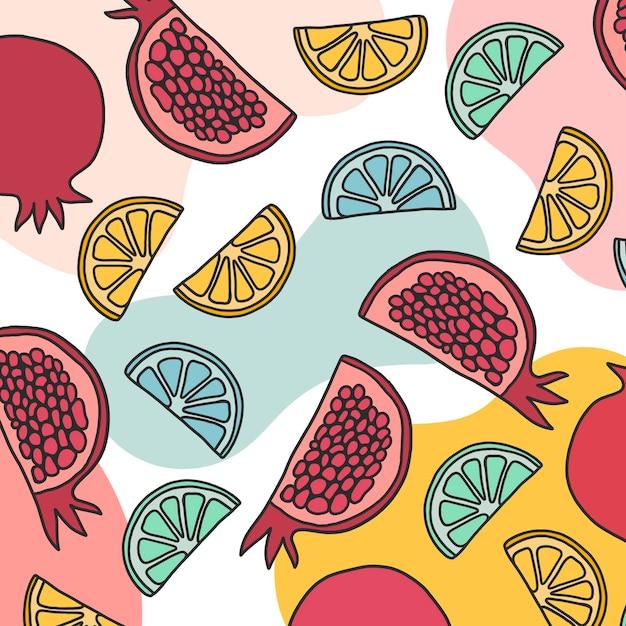 Zomer fruitige patroonstijl Gratis Vector