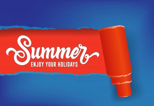 Zomer, geniet van uw vakantie seizoensgebonden banner in rode en blauwe kleuren Gratis Vector