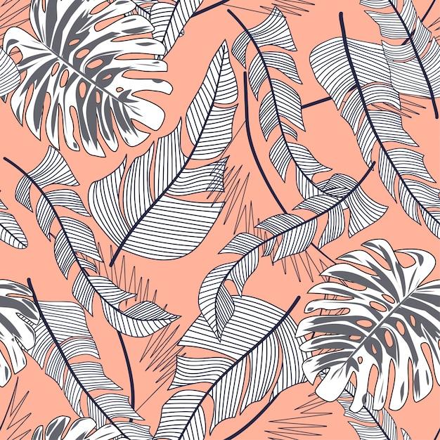 Zomer heldere naadloze patroon met kleurrijke tropische bladeren en planten op beige achtergrond Premium Vector