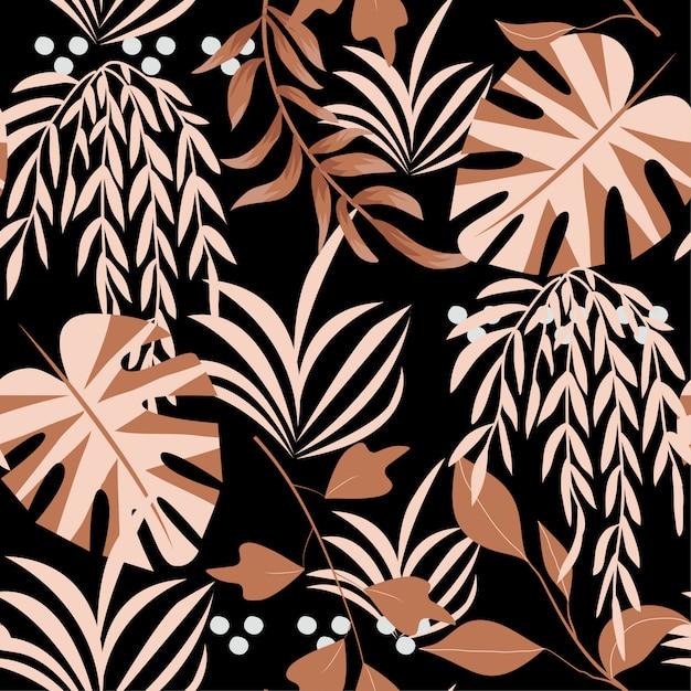 Zomer heldere naadloze patroon met kleurrijke tropische bladeren en planten op zwarte achtergrond Premium Vector