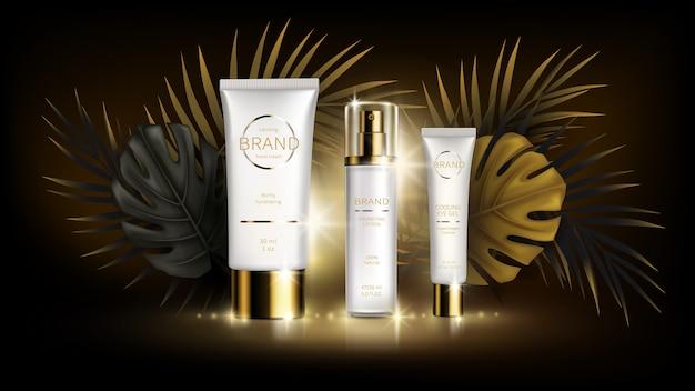 Zomer huidverzorging cosmetica, tropische vector Gratis Vector