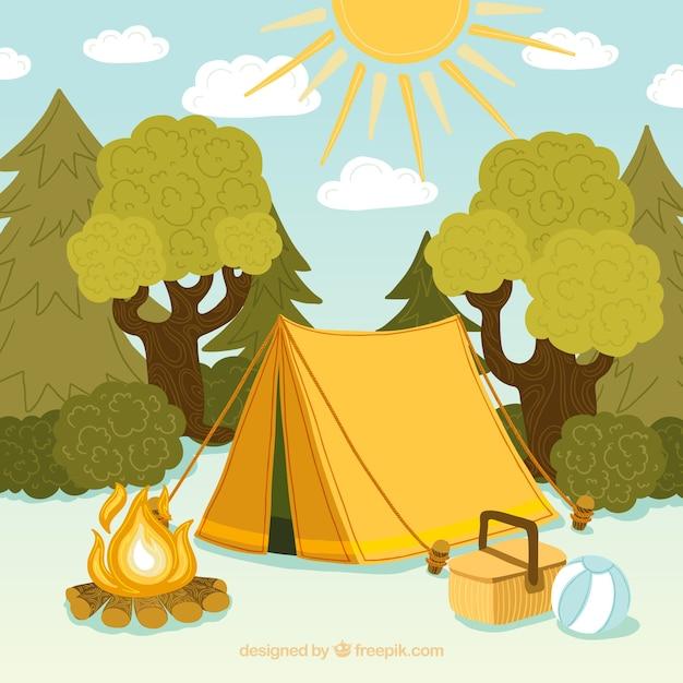Zomer kamp achtergrond met tent en bomen | Gratis Vector