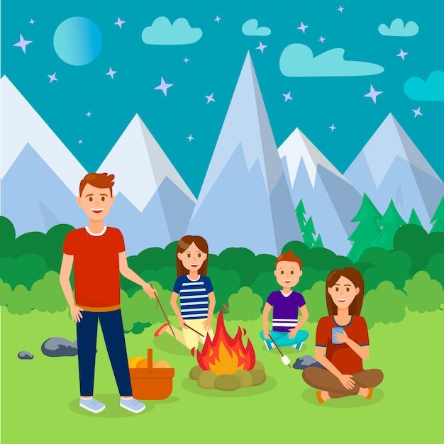 Zomer kamperen in bergen cartoon afbeelding. Premium Vector