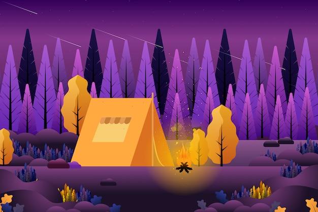 Zomer kamperen in het bos Premium Vector