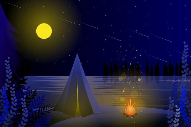 Zomer kamperen met sterrenhemel achtergrond Premium Vector