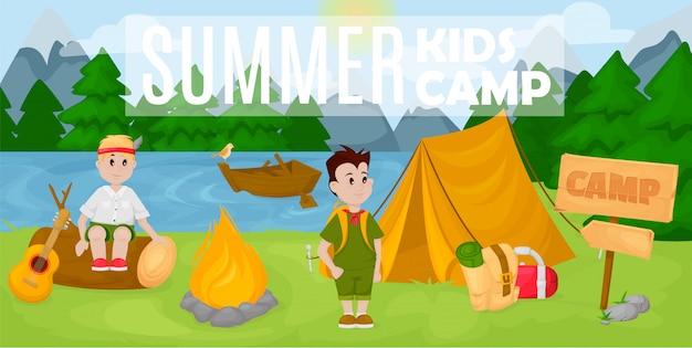 Zomer kinderen kamp banner Premium Vector