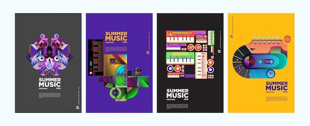 Zomer kleurrijke kunst en muziekfestival poster en dekking Premium Vector