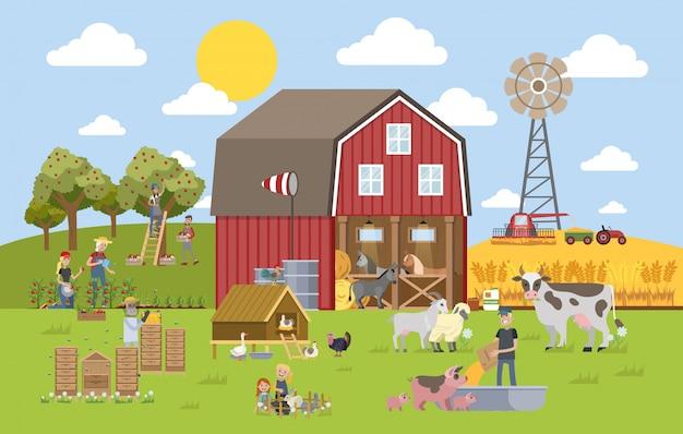 Zomer landschap met boerderij. Premium Vector