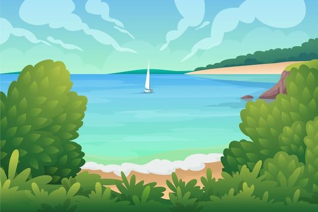 Zomer landschap met boot op zee Gratis Vector