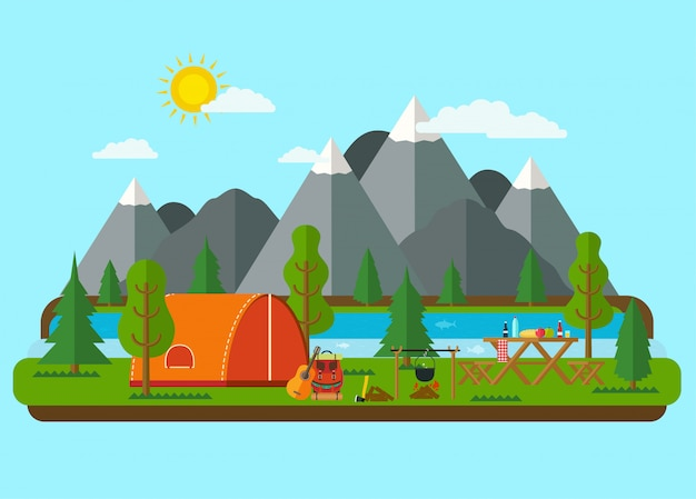 Zomer landschappen. picknickbarbecue met tent in bergen dichtbij een rivier. wandelen en kamperen. Premium Vector