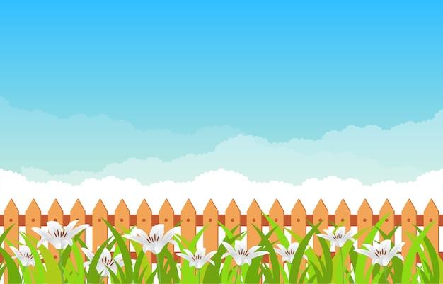 Zomer lente bloeiende bloem aard met blauwe hemelachtergrond Premium Vector