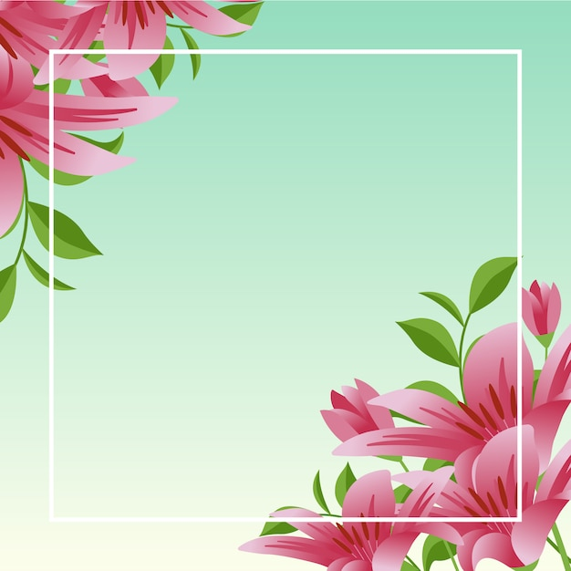Zomer lente bloeiende bloem natuur frame met blauwe hemel Premium Vector