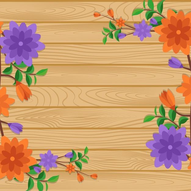 Zomer lente bloeiende bloem natuur frame op houten bord Premium Vector