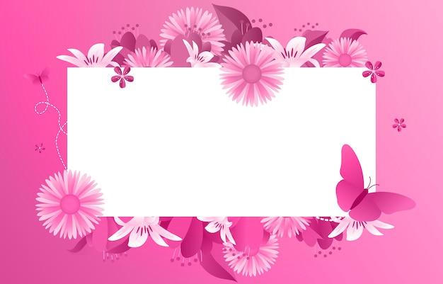 Zomer lente bloeiende bloem roze frame Premium Vector