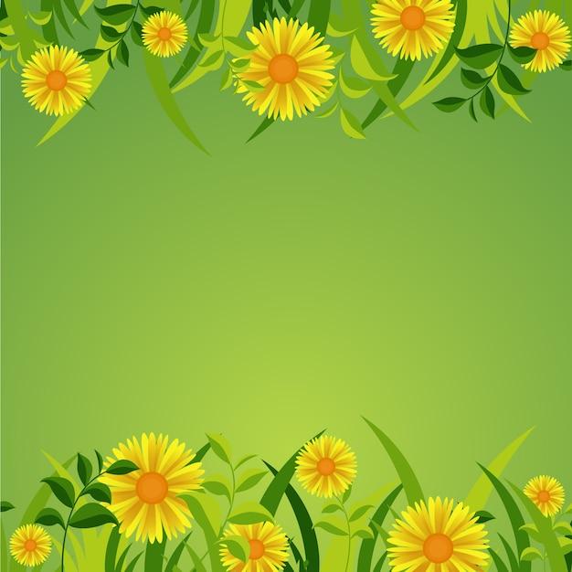 Zomer lente blooming flower natuur frame op fresh green Premium Vector