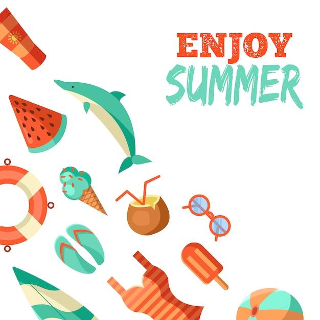 Zomer logo illustratie. zomertijd, geniet van uw vakantie. Gratis Vector