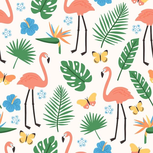 Zomer naadloos patroon met exotische jungle gebladerte, roze flamingo's, exotische bloeiende bloemen en vlinders Premium Vector