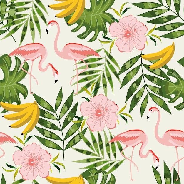 Zomer naadloze patroon met flamingo. Premium Vector
