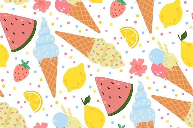 Zomer naadloze patroon met ijs, citroenen, aardbeien, bloemen en watermeloenen. Premium Vector
