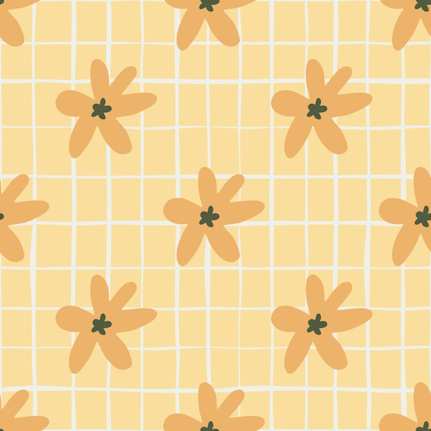 Zomer naadloze patroon met oranje madeliefjebloemen. pastel lichtoranje achtergrond met controle Premium Vector