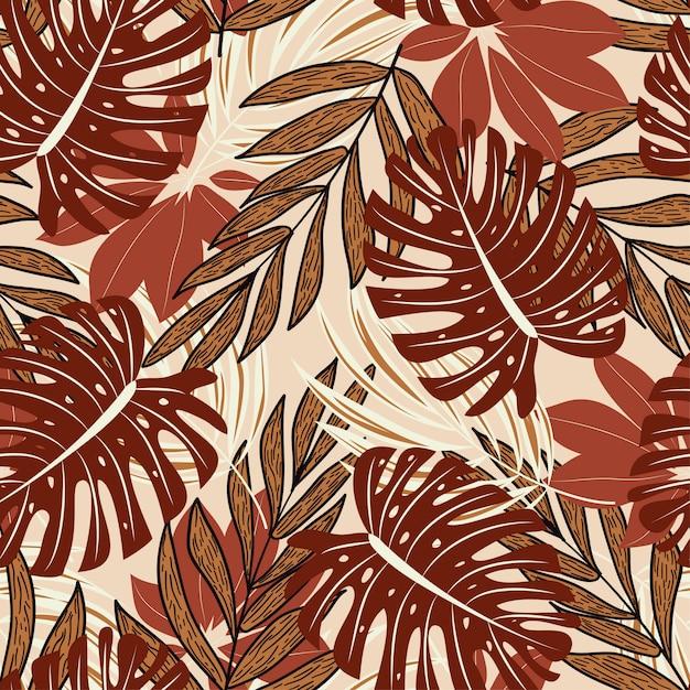 Zomer naadloze patroon met prachtige tropische planten en bladeren Premium Vector