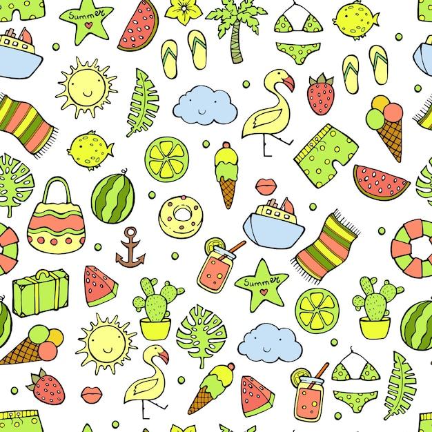 Zomer naadloze patroon. watermeloen, ananas, ijs, palmboom, citroen, cactus Premium Vector