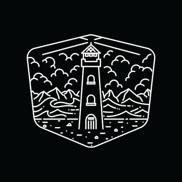 Zomer natuur strand lijn grafische illustratie kunst t-shirt Premium Vector