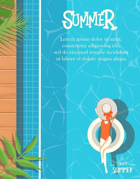Zomer ontwerp met zwembad achtergrond Premium Vector