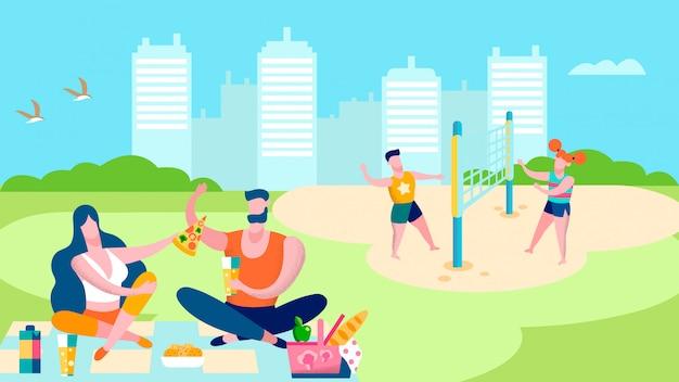 Zomer outdoor park activiteiten vlakke afbeelding Premium Vector