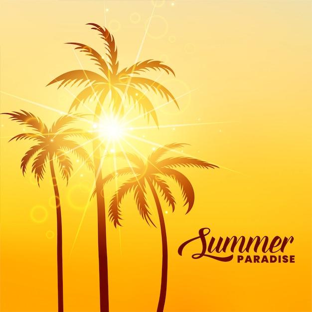 Zomer paradijs vakantie achtergrond met zonneschijn Gratis Vector