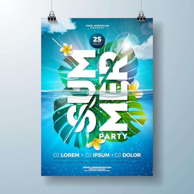 Zomer partij flyer ontwerpsjabloon met tropische palmbladeren en bloem Premium Vector