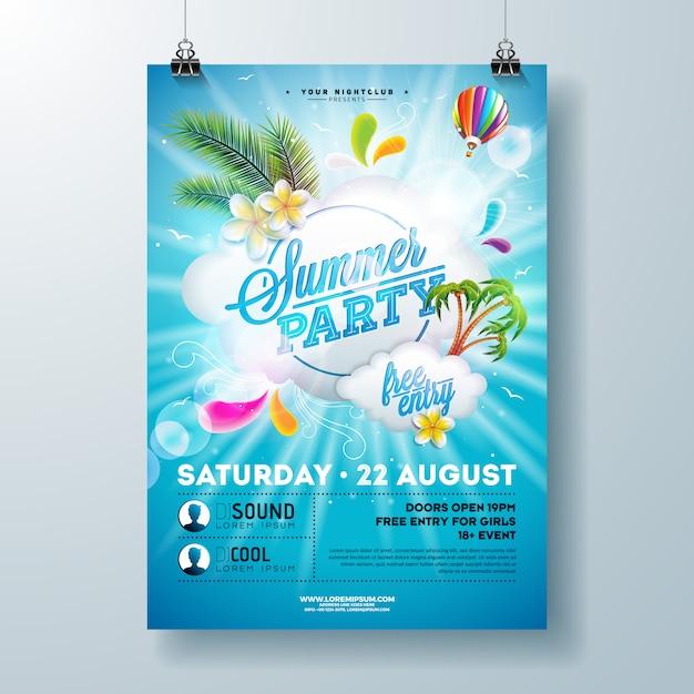 Zomer partij poster ontwerpsjabloon met bloem, palmbladeren en cloud op blauwe achtergrond. vakantie illustratie Premium Vector