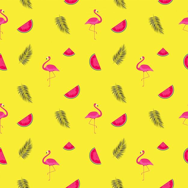 Zomer patroon achtergrond met watermeloenen en flamingo's Premium Vector