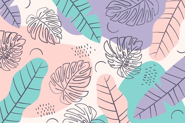 Zomer patroon achtergrond minimaal gekleurde bladeren Gratis Vector
