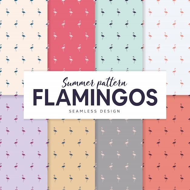 Zomer patroon collectie met flamingo silhouetten Premium Vector
