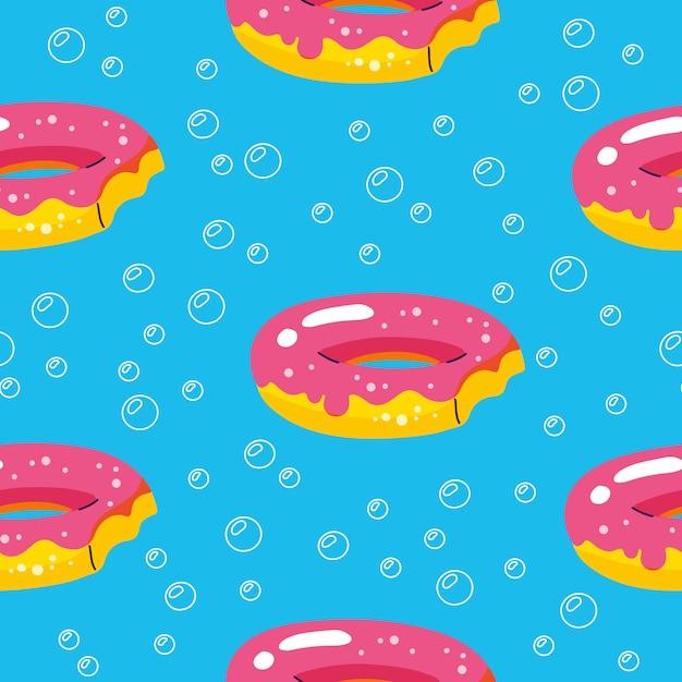 Zomer patroon met donuts drijft en zwembad Premium Vector