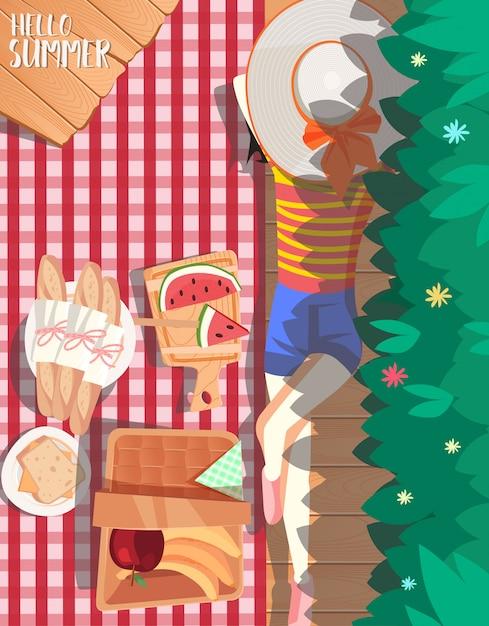 Zomer picknick ontwerp Premium Vector