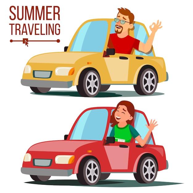 Zomer reizen met de auto illustratie Premium Vector