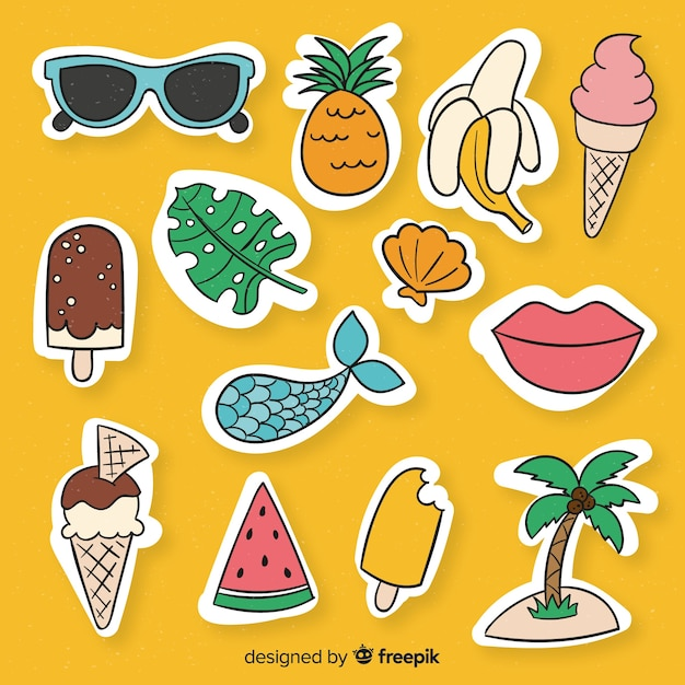 Zomer sticker collectie Gratis Vector