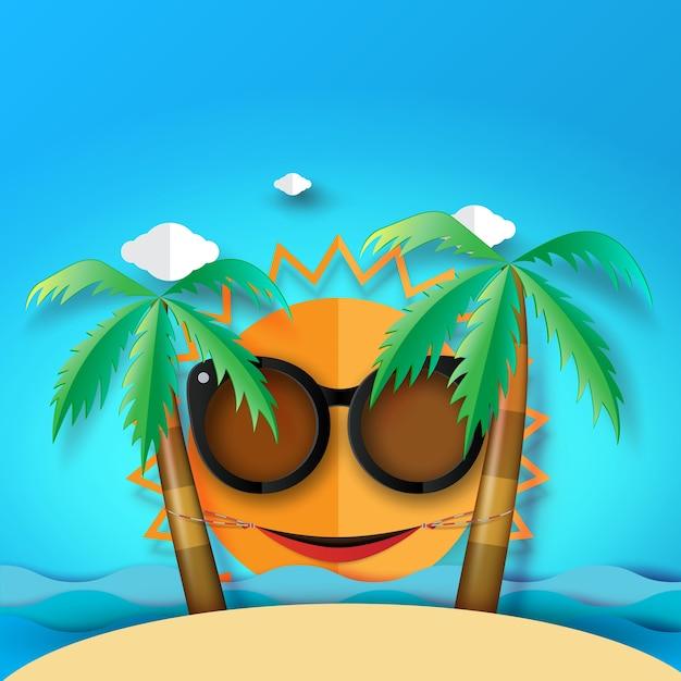 Zomer strand en eiland achtergrond met hangmat en kokosnoot boom. Premium Vector