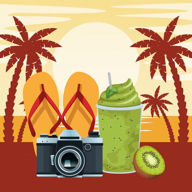 Zomer strand en vakantie cartoon Gratis Vector
