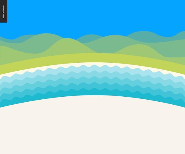 Zomer strand landschap-achtergrond Premium Vector