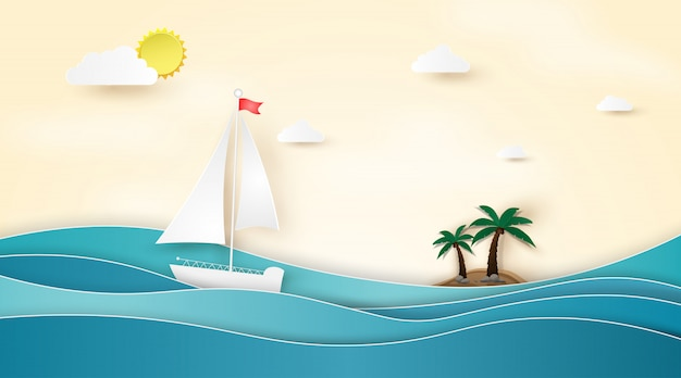 Zomer strand met boot zeilen in de zee. Premium Vector
