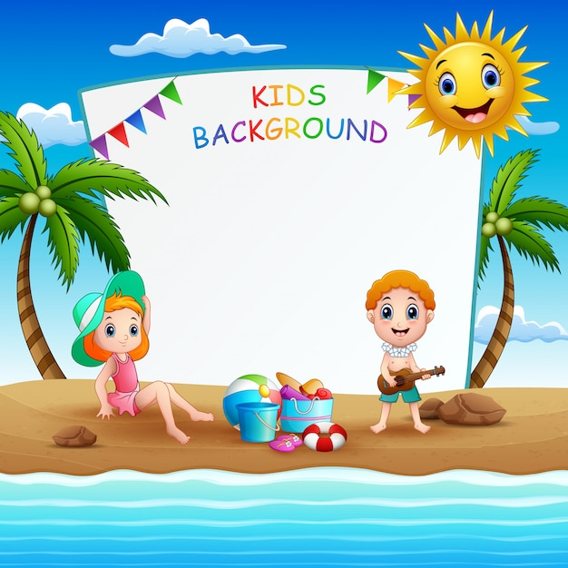 Zomer strand vakantie frame illustratie Premium Vector