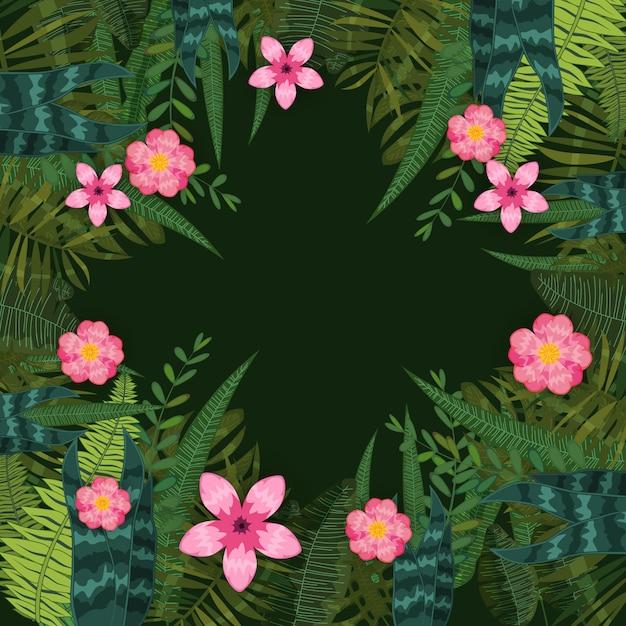 Zomer trendy tropische bladeren en bloemen achtergrond van exotische planten en hibiscus bloemen Premium Vector