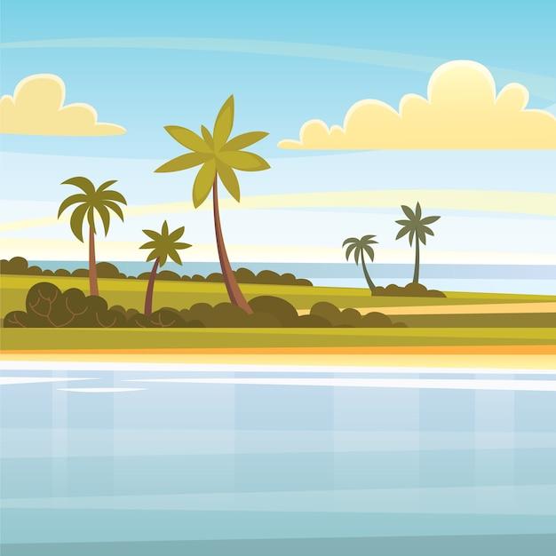 Zomer tropische achtergrond met palmen, lucht en zonsondergang. strand landschap. Premium Vector