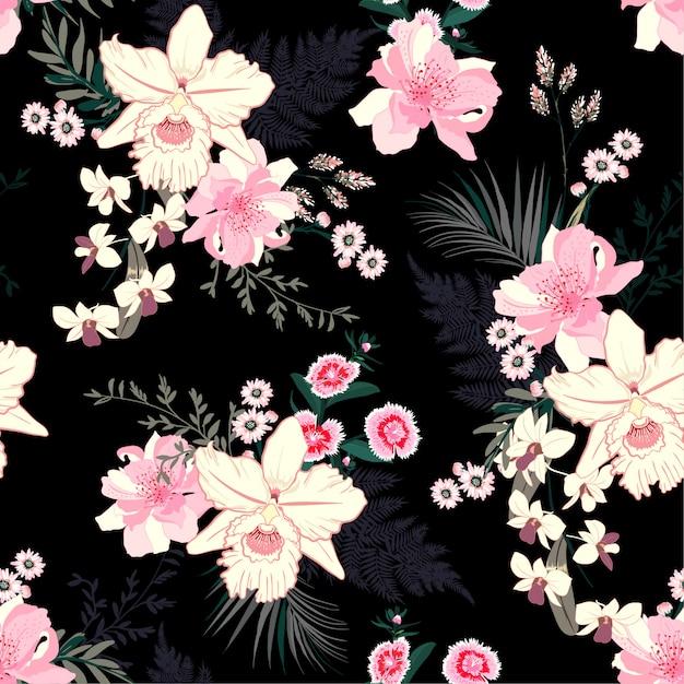 Zomer tropische nacht bloeiende bloemenstemming naadloos Premium Vector