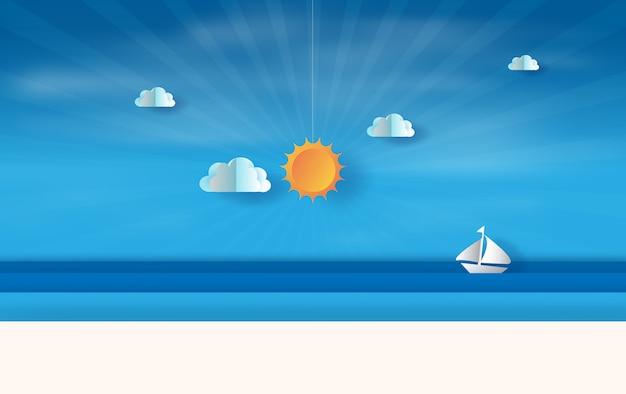 Zomer uitzicht op zee met zonsondergang Premium Vector