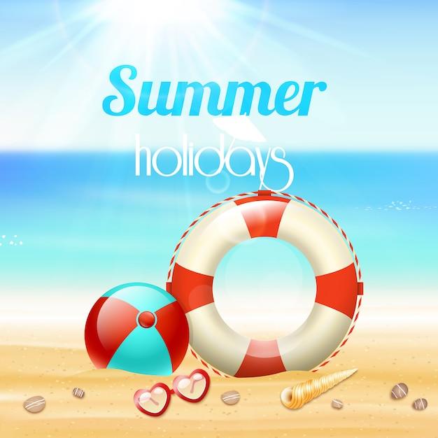 Zomer vakantie vakantie reizen achtergrond poster met zonnebril levenslijn en zeester op strand zand Gratis Vector