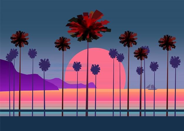 Zomer vakantie weg, tropisch strand zonsondergang, zee, zee, met palmbomen Premium Vector